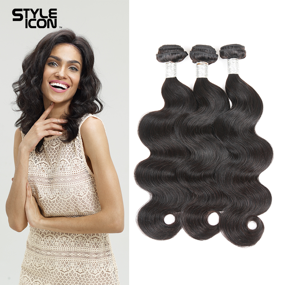 Styleicon Pre-colored Peruvian Body Wave Human Hair 3 Bundles Double Weft Non Remy Hair Extensions Weave Free Shipping