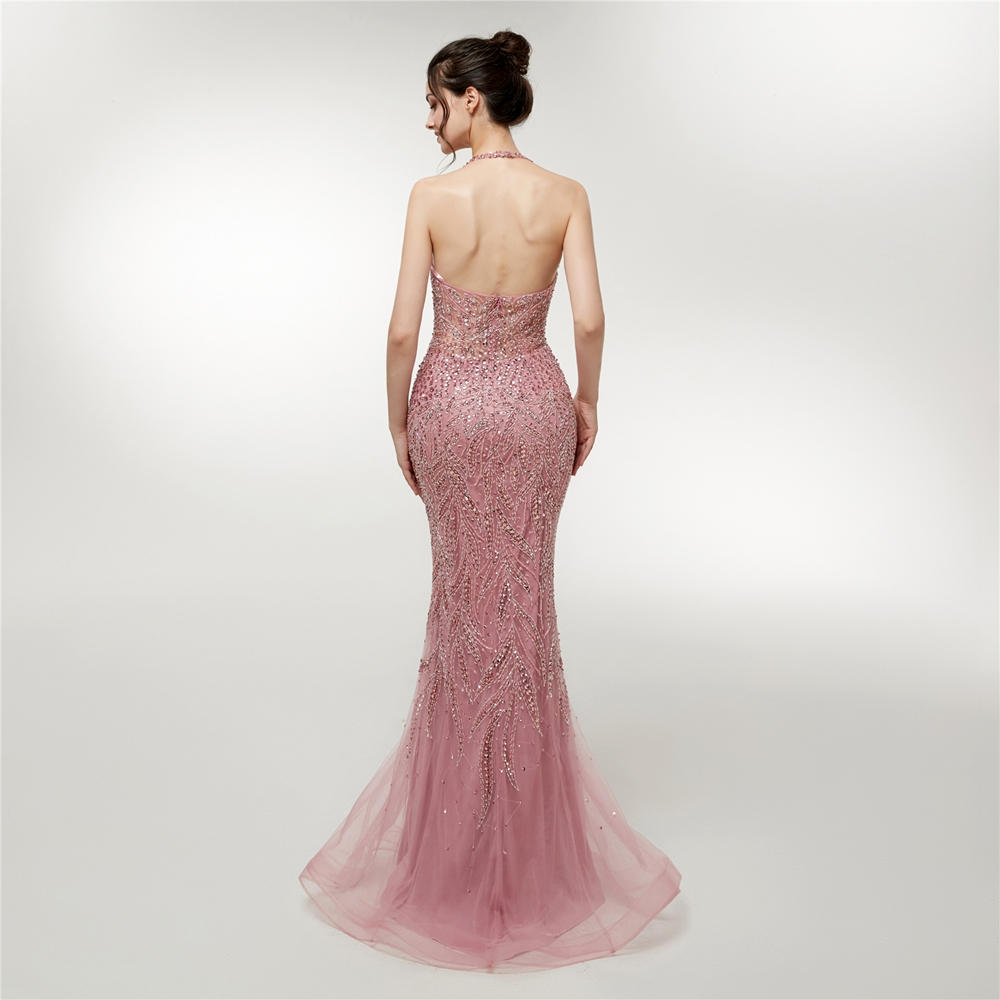 Pink Evening Dresses 2019 Mermaid Luxury Beading Crystal V Neck Backless Tulle Prom Party Gowns Long Robe De Soiree Abendkleider