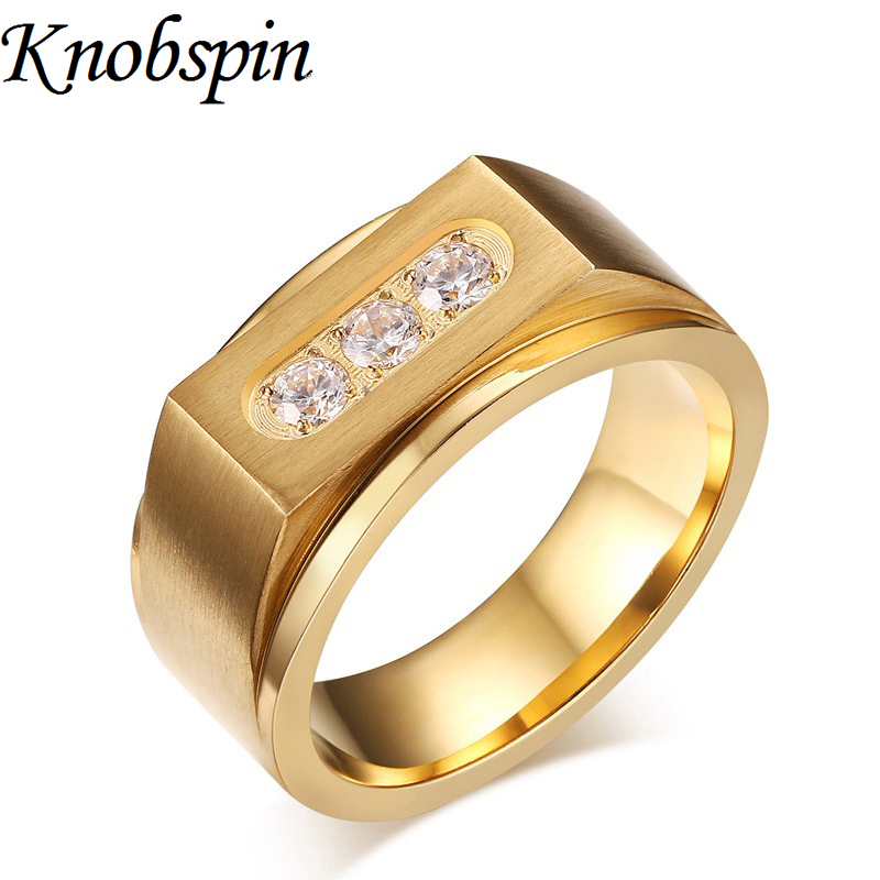 US size 9-12 men Jewelry ring Gold color Titanium steel Rings men fashion Wedding rings finger Jewelry anel masculino