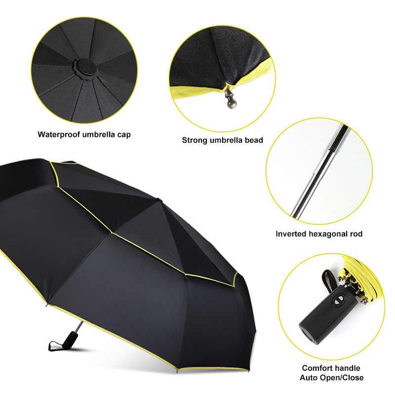 Высококачественный полностью автоматический зонт 120 см для мужчин и женщин с двойным слоем, 3 Складные бизнес-подарочные зонтик для защиты от ветра, зонты от солнца