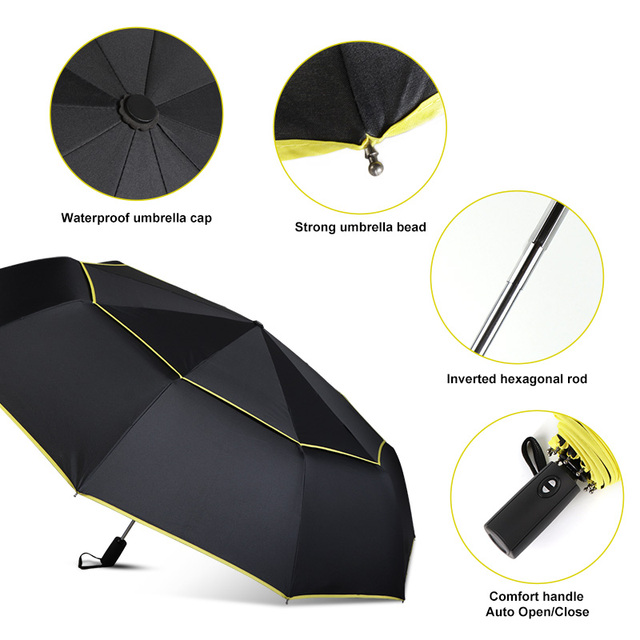High Quality 120cm Fully-automatic Umbrella Men Rain Woman Double Layer 3 Folding Business Gift Umbrella Windproof Sun Umbrellas 2