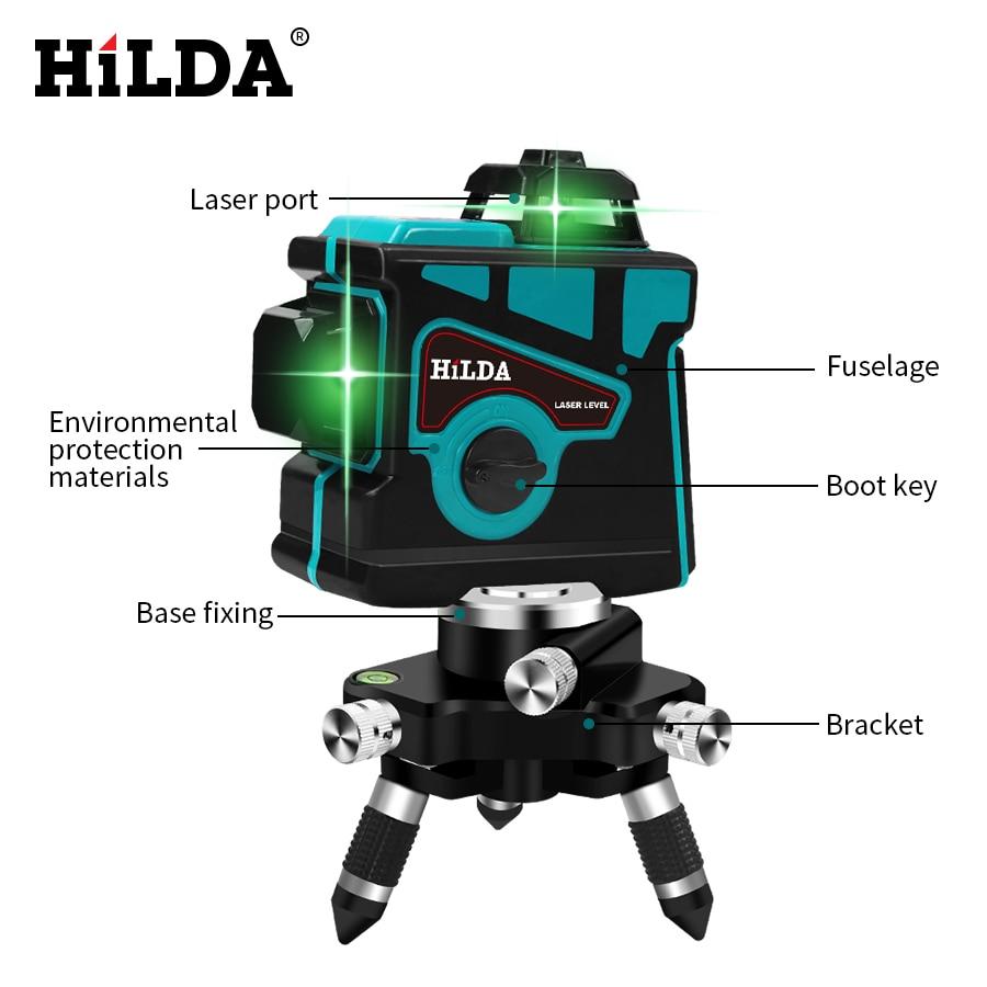 HILDA лазерный уровень 12 линий 3D уровень самонивелирующийся 360 горизонтальный и вертикальный крест супер мощный зеленый лазерный уровень