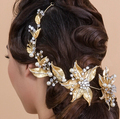 TS164 high-end bridal jewelry Baroque Strip headdress vintage bride wedding accessories gold tiara flower headbands
