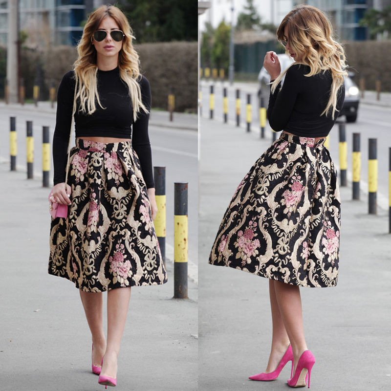 2016 Hot Selling Sexy Women Floral Skirts Autumn Vintage Womens Midi Skirts  Skater Flared Pleated Casual Midi Skirt