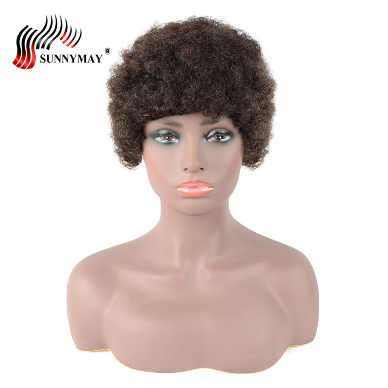 Sunnymay Wigs Remy-Hair Black-Women Curly-Machine Brazilian No Made for -1b