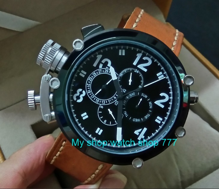 50mm PARNIS left hand crown black dial Automatic Self Wind movement Auto Date Men s watch