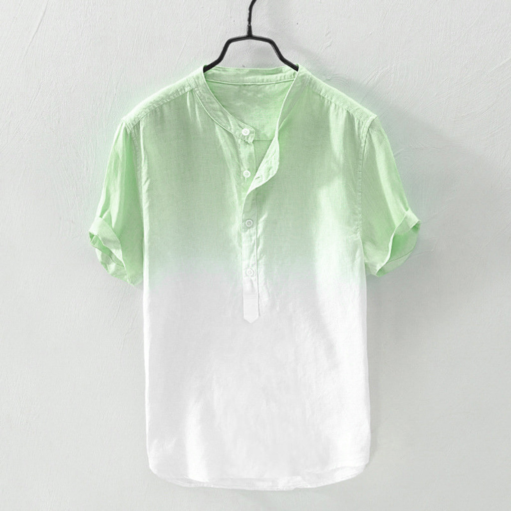 Summer Men's Shirt Blouse Cool And Thin Breathable Collar Hanging Dyed Gradient Cotton Linen Casual Short Sleeve Blouse