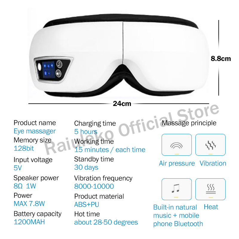 Electric Vibration Bluetooth Eye Massager Eye Care Device Wrinkle Fatigue Relieve Vibration Massage Hot Compress Therapy Glasses Pakistan