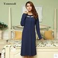 Camisolas Das Mulheres Primavera E No Outono Elegante Night-Robe Longo-luva Camisola De Algodão Moda Mulheres Sleepshirts Salão