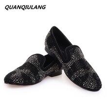 Новинка Брендовая дизайнерская обувь красный Низ Мужская обувь черный бриллиант Пояса из натуральной кожи модные Мужская обувь на плоской подошве для выпускного мужской Лоферы для женщин Размеры 39-47