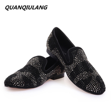 2016 New Brand Designer Red Bottoms man shoes black Diamond Genuine Leather Fashion Men's Flats Prom Male Loafers Size 39-47