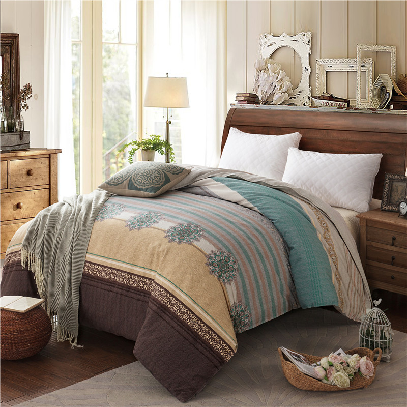 European Retro Style Dark Stitching Pattern Cotton Thickening 1 Pcs Duvet Cover With Zipper Quilt Or Comforter Or Blanket Case