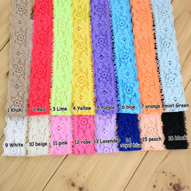 160pcs lot girls 16Colors Solid Headwears 1 18 Width Kids Elastic Lace Headband DIY Hair Band