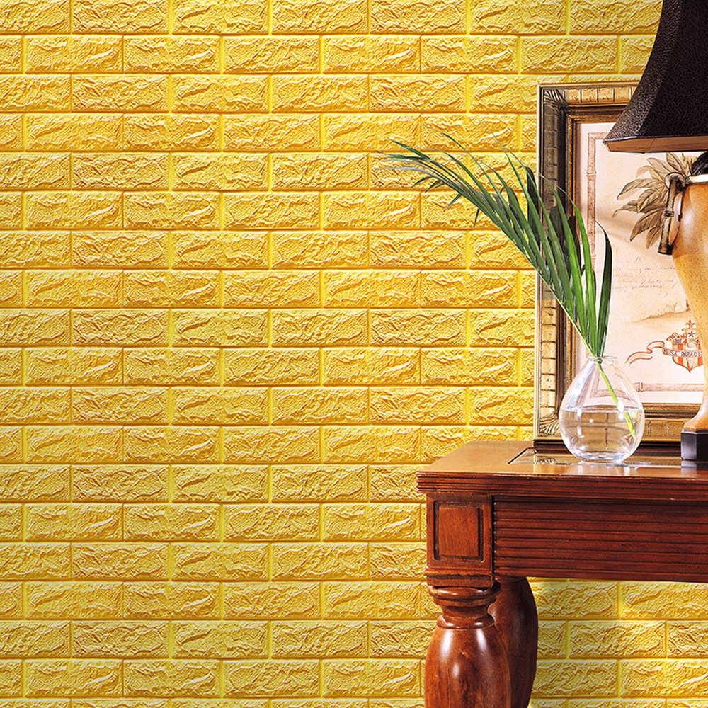 PE Foam 3D Wallpaper DIY Wall Stickers Wall Decor Embossed Brick ...