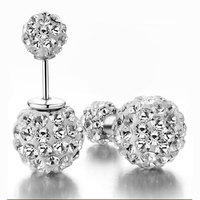 SUPIN Fashion Women Trend Silver Double Crystal Alloy Balls  Stud Earrings Boucle D'oreille Bijoux Jewelry Female Accessory