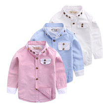 Boys long sleeve shirt, pure cotton shirt in the autumn of the new version of its 2016 color clothes Baby collar jacket
