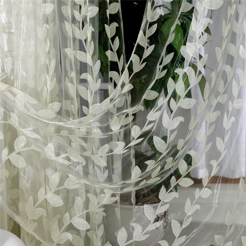 Gasa Willow hojas patrón de cortina de ventana de cortinas bufanda puro Panel cenefas ciegas para sala 3x2,9 m cuerda cortina Flash línea brillante borla cuerdas puerta ventana Decorective divisor cortina purpurina cenefa decoración del hogar