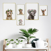 Nurser Canvas Art Posters and Prints Giraffe Elephant Deer Owl Wall Painting Picture Nordic Decorative for Baby Room Decor