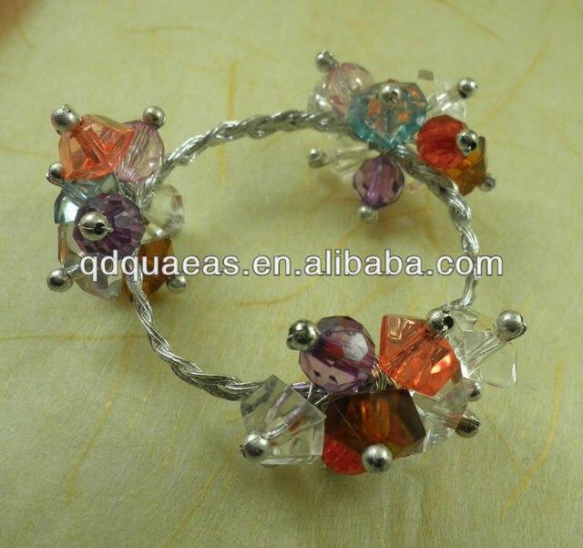 acrylic crystal beades flower bulk napkin ring acrylic diamond