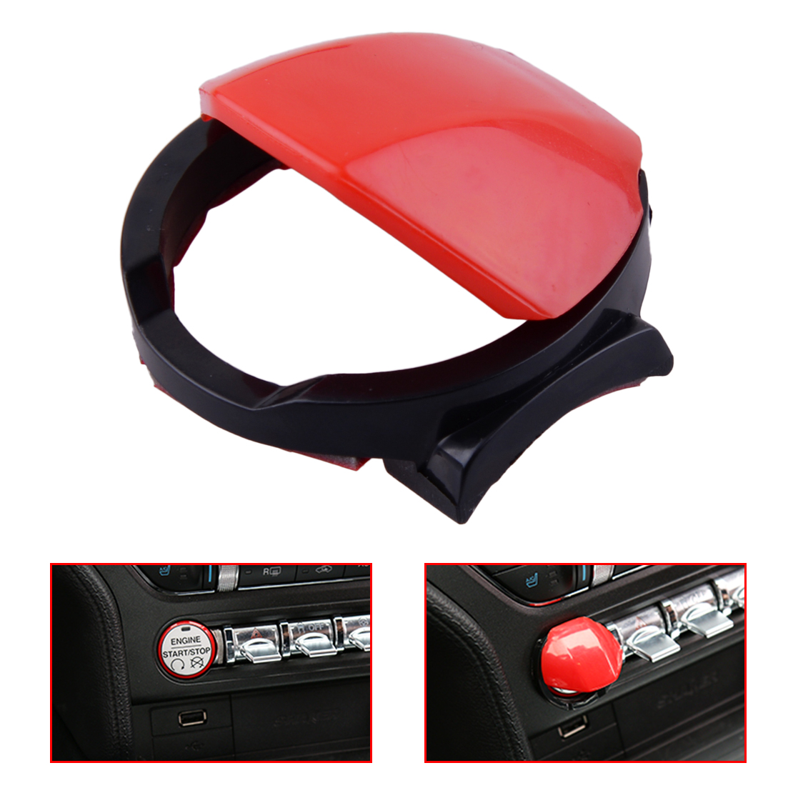 CITALL Red & Black Car Engine Start/Stop ABS Push Button Switch Start Momentary Cover Cap fit For Ford Mustang 2015 2016 2017