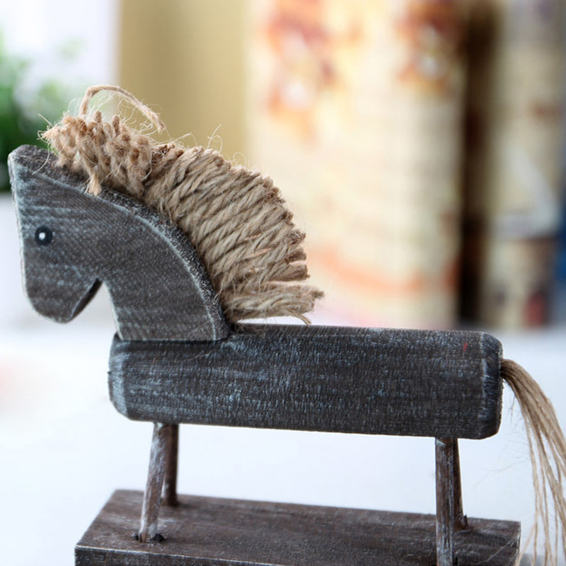 14*13cm Europe Style Handmade Wood Horse Natural Creative Gifts Desk Decoration Cavalo Animals Figurines Ornaments