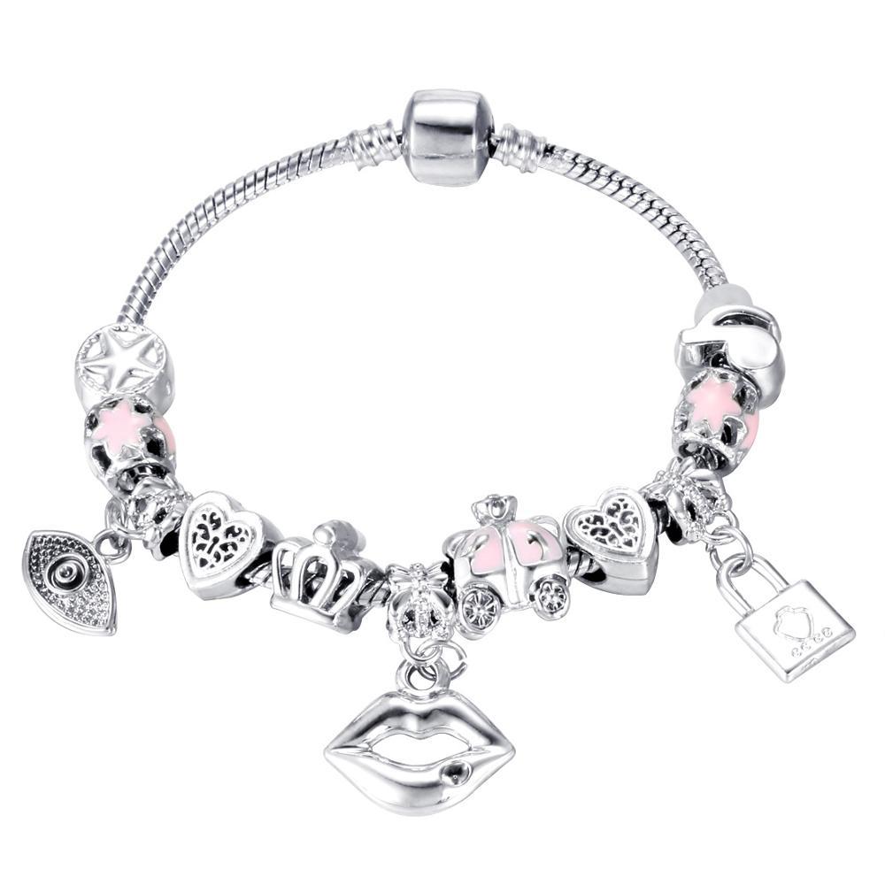 Pink Crystal Charm Silver Bracelets & Bangles for Women  Beads Silver Bracelet Femme Jewelry 17