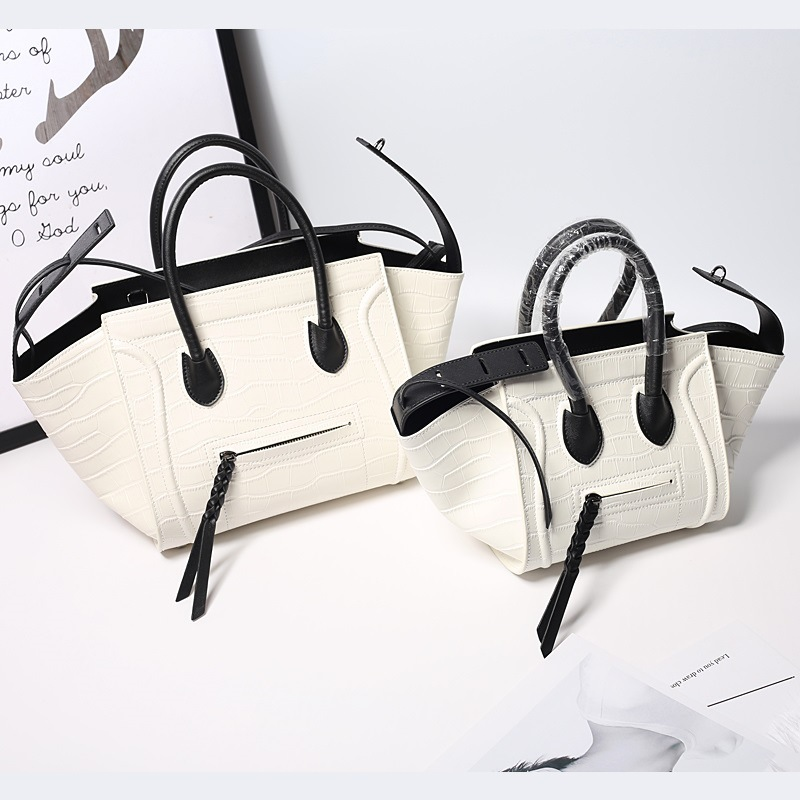 Classic Bat bag Crocodile embossed Genuine Leather handbag Wing Bag Shoulder Bag multi zips crocodile embossed handbag