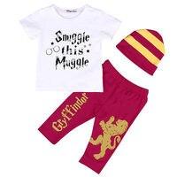 3pcs Newborn Infant Baby Boy Harry Potter T Shirt Pants Striped Hat Outfits Children Clothes Set