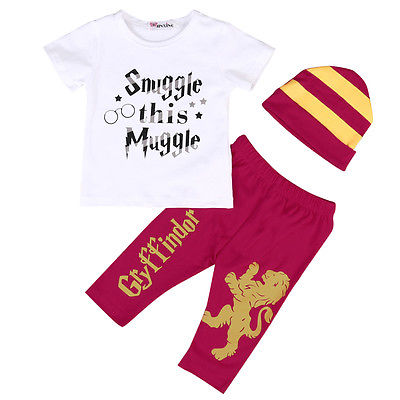 3pcs Newborn Infant Baby Boy Harrys Potters T-shirt+Pants+Striped Hat Outfits Children Magic Clothes Set 6-24M