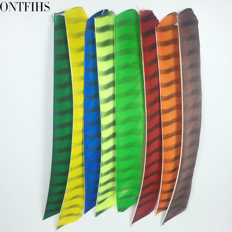 ONTFIHS Archery Fletching Arrow Feathers Multicolor Double Sided Striped Full length Turkey Feather Fletches DIY   50PCS-in Bow & Arrow from Sports & Entertainment    3