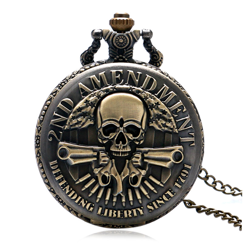 . Änderung Verteidigen Liberty Seit 1791 Kühlen Guns Design Antike Bronze Schädel Taschenuhr Vintage Anhänger Uhr Anhänger Männer