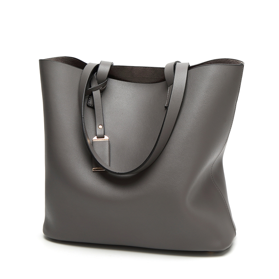 Big Capacity Composite Tote Women Top-Handle PU Leather Women Shoulder Bags Solid Soft Surface Bucket Females Casual Tote