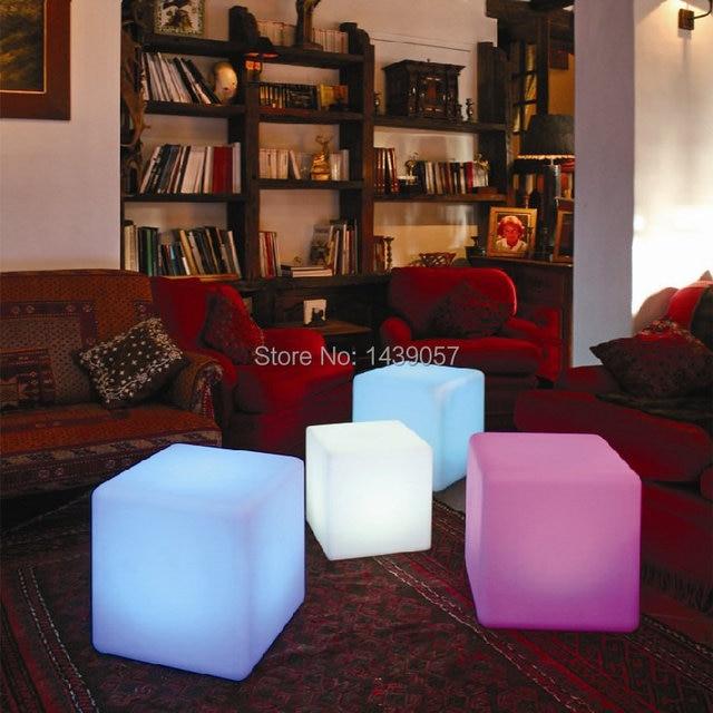 30 * 30 * 30 cm plástico llevó cubo taburete que cambia de Color ...