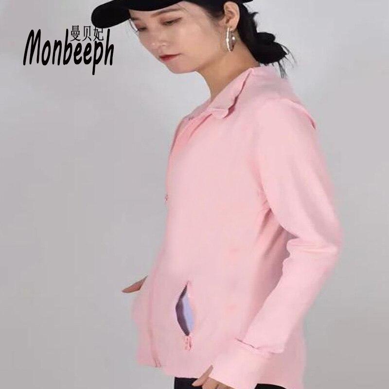 2018 MONBEEPH New Female Basic Jackets Zipper Jacket Women Casual Female Jacket Coat