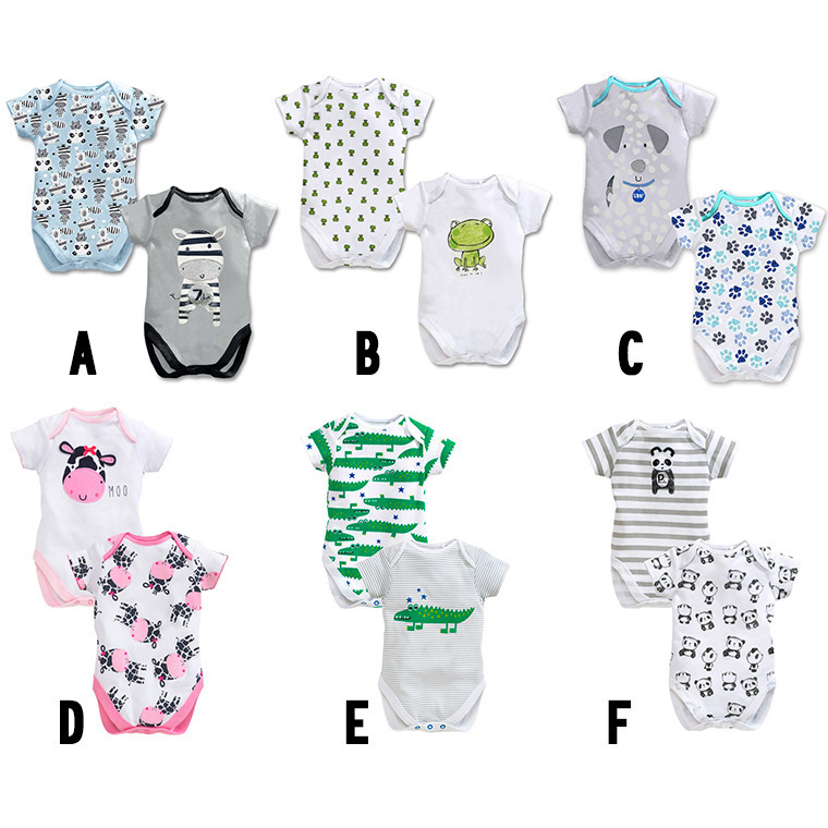 2pc/Lot Newborn Baby Clothes Cotton Short Sleeve Baby Rompers Newborn Baby Girl Clothes Summer Animal Baby Costume Jumpsuit summer style short sleeve baby gentleman tie rompers love mama papa jumpsuit baby boys girls costume jeans newborn baby clothes