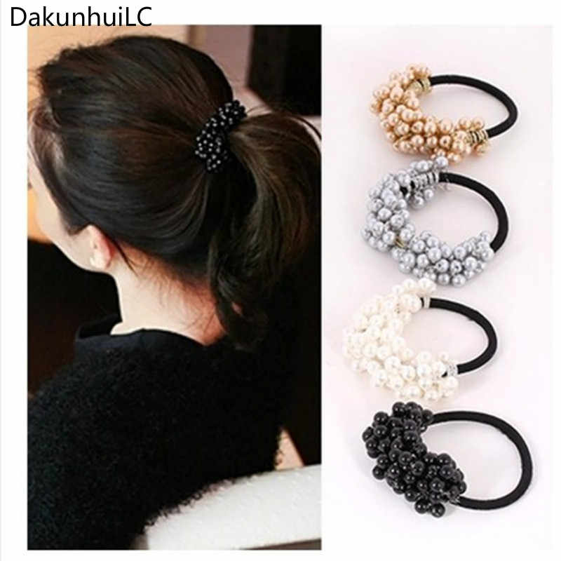 1PC New Hair Accessories Pearl Elastic Rubber Bands Headwear For Women Girl Ponytail Holder Scrunchie Ornaments Jewelry