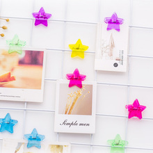 6 Pcs/Lot Creative Stationery Colorful Transparent Five-pointed Star Paper Clip Kawaii DIY Photo Wall Decoration Test Tool Clips