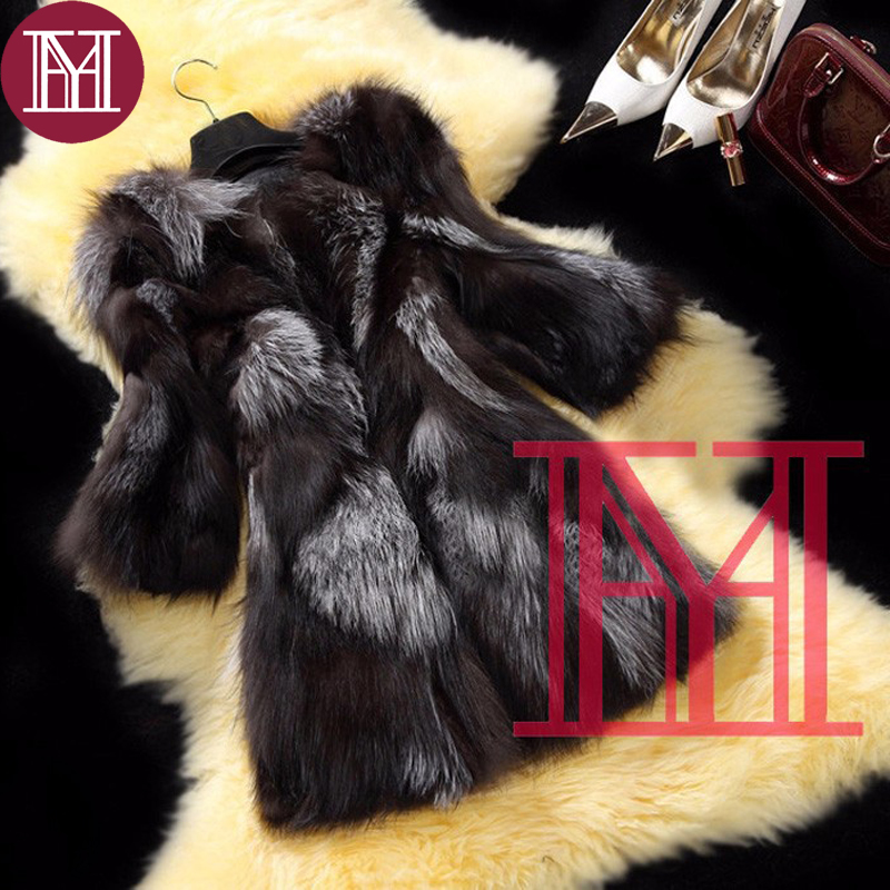 New Arrival  Fashion Girl Winter Real Silver Fox Fur Coat Women 100% Natural Fox Fur Outerwear Brand Plus Size Customized