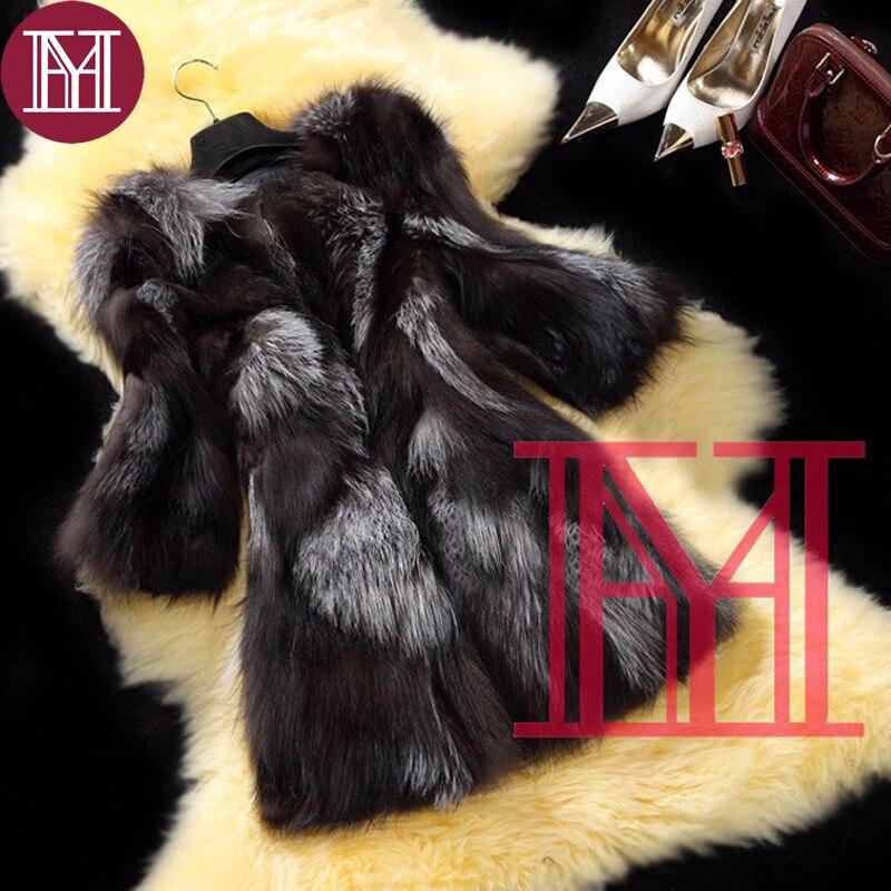New Arrival Fashion girl winter real silver fox fur coat women 100 natural fox fur outerwear