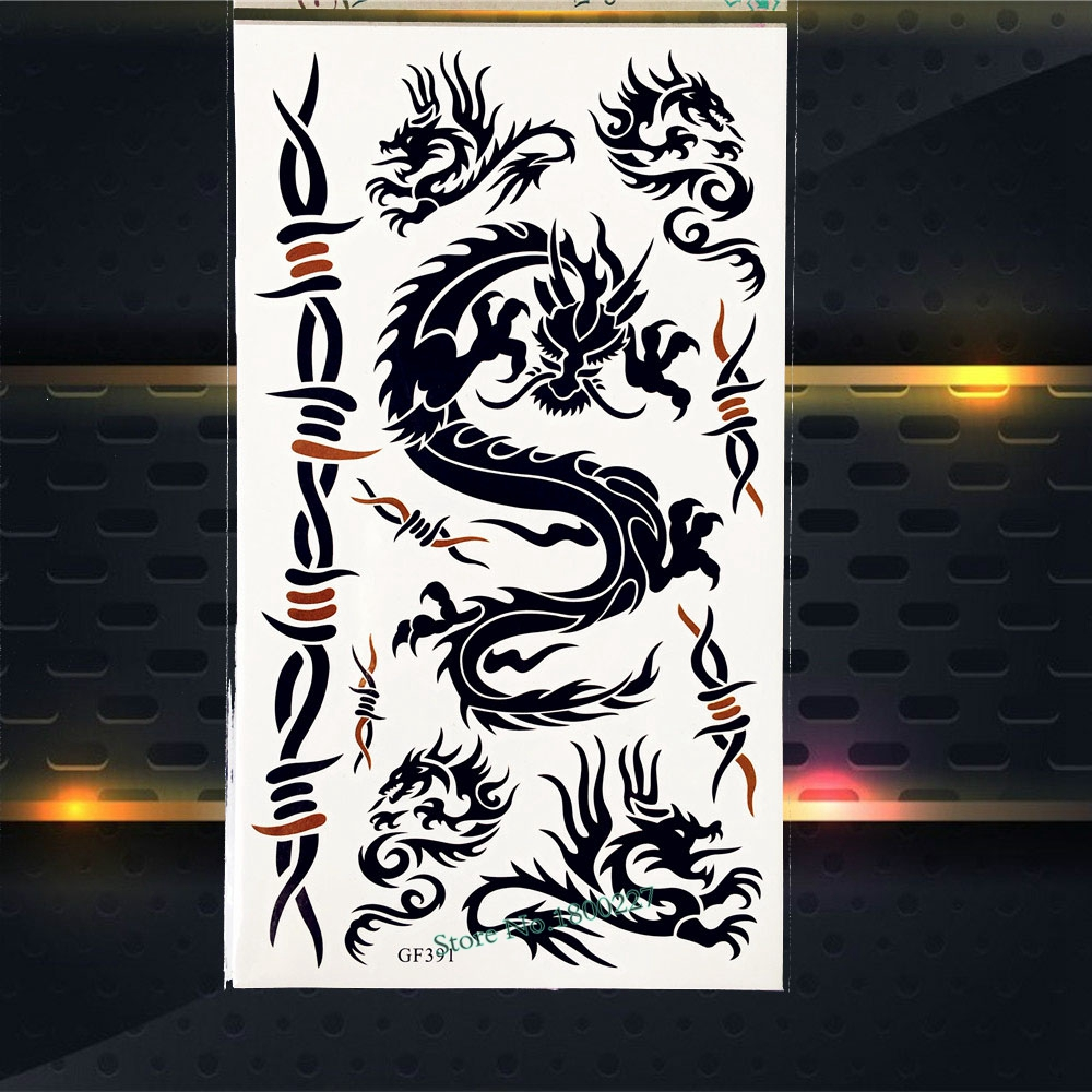 Black Flying Dragon Temporary Tattoo Sticker Armband Chest Body Arm Choker PGF391 Fake Flash Tattoo For Men Black Stickers