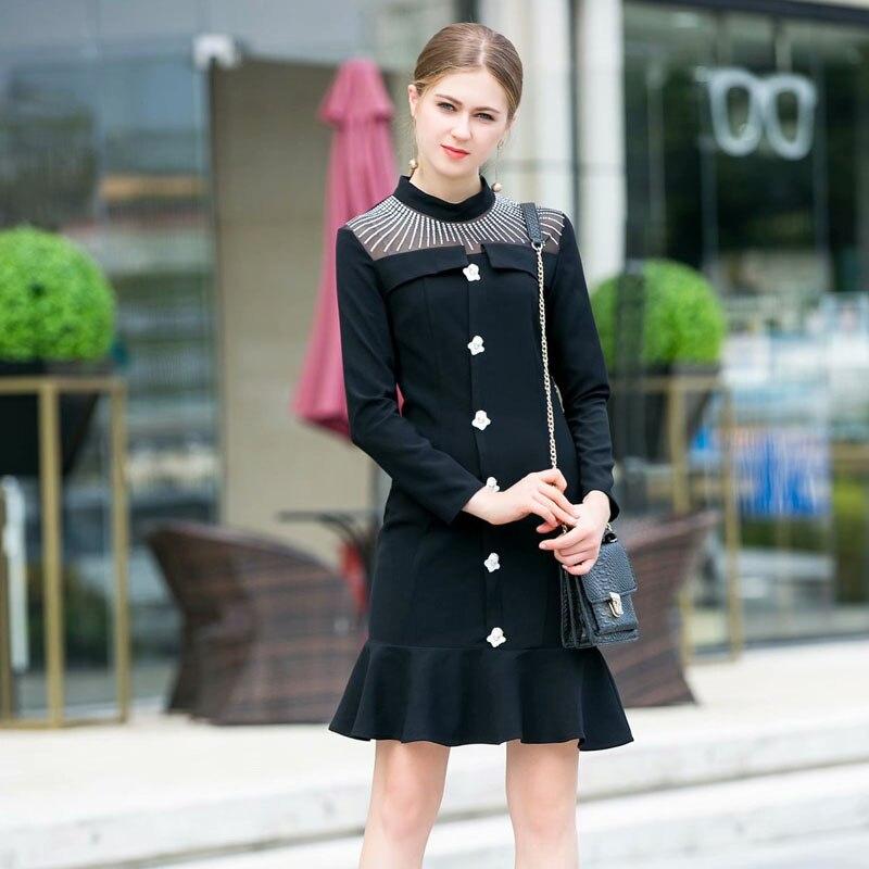 021ac56e7e760 Partie Automne De Pleine Robes Robe D'hiver Manches Haute Noir Diamants  Qualité Simple Mince Piste ...
