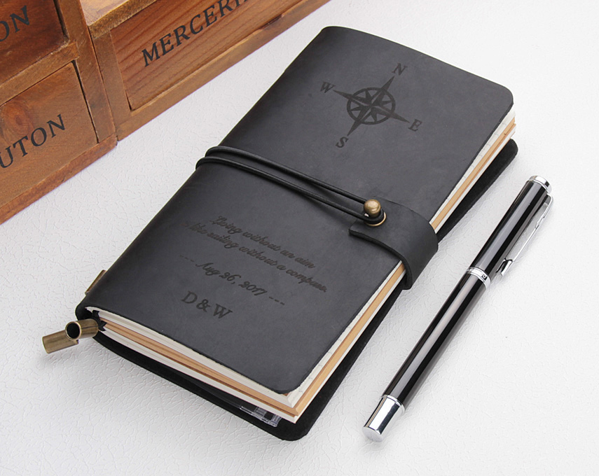 Leather Journal Refillable, Personalized Compass Travelers Notebook, Travel Diary Sketchbook, Custom Text Leather Notebook