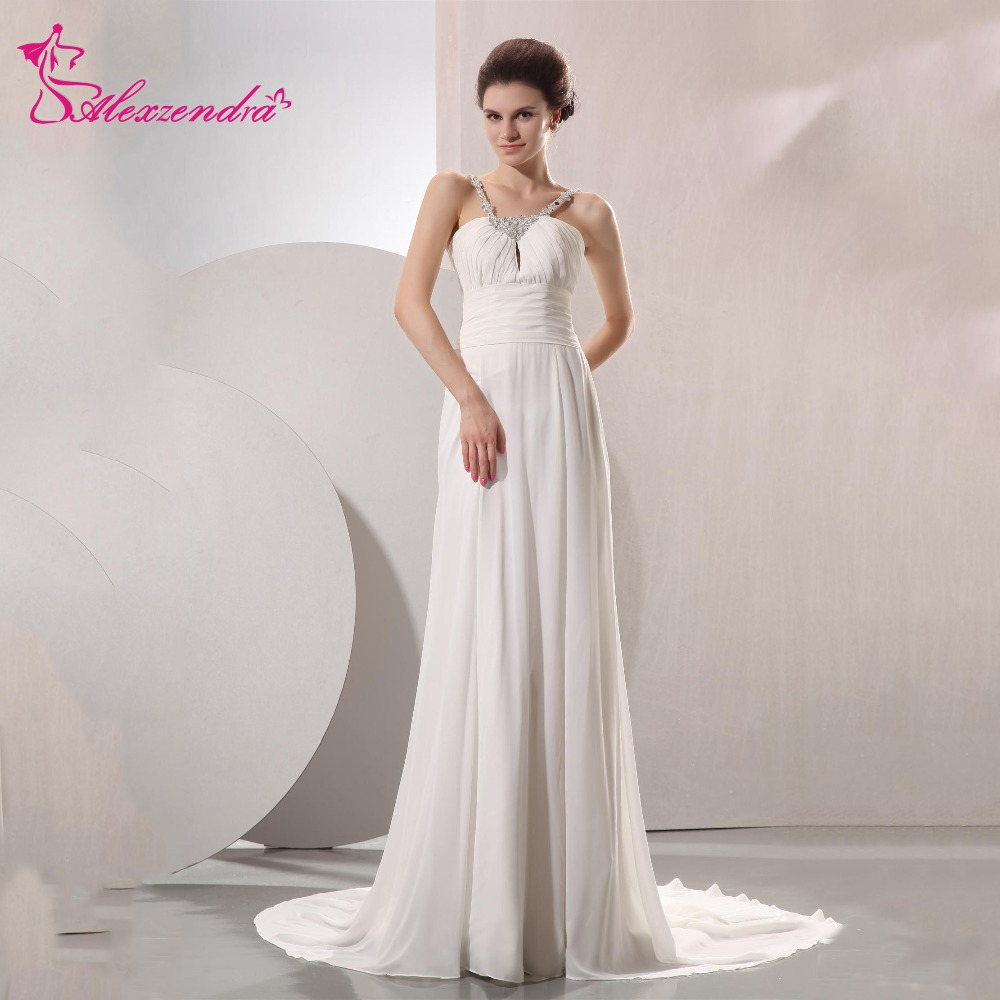 Plus Size Empire Waist Wedding Dress: Alexzendra A Line Chiffon Pregnant Wedding Dress With