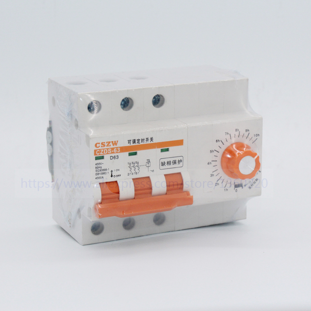 3 phase circuit breaker with timer 0 10 hours 63A 3 phase 3 wire ...