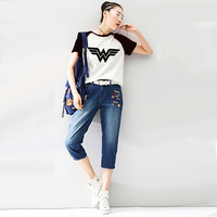 2017 Wonder Woman Anime Shirt Print Raglan Short Sleeve Tshirt Raglaned T Shirt Women Harajuku Unicorn
