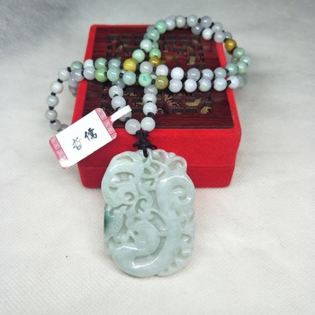 Zhe Ru Jewelry Pure Natural Jadeite Light Green Vintage Dragon Pendant Tricolor Jade Bead Necklace A Class A Certificate