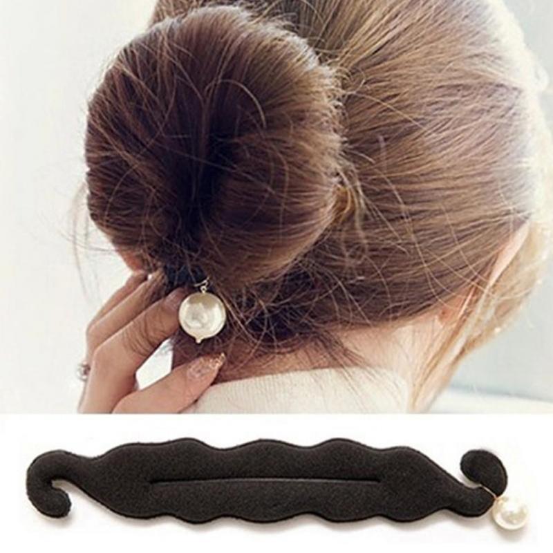 New Style DIY Big Simulated Pearl Black Styling Tools Women Sponge Black Hair Accessories