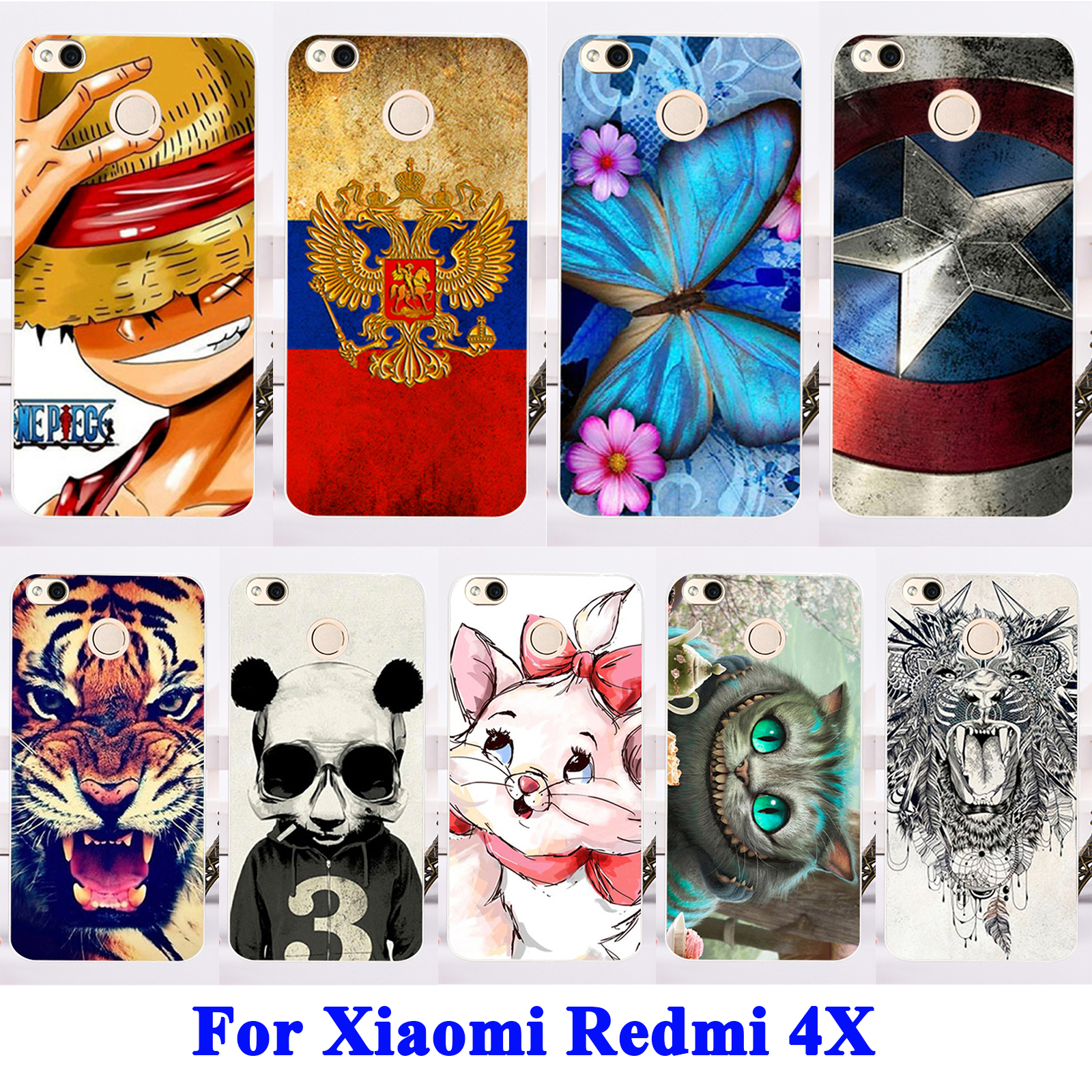 AKABEILA Painted Mobile Phone Cases For Xiaomi Redmi 4X Case Soft TPU Back Covers Painted Shield Smartphone Hood Durable Shell