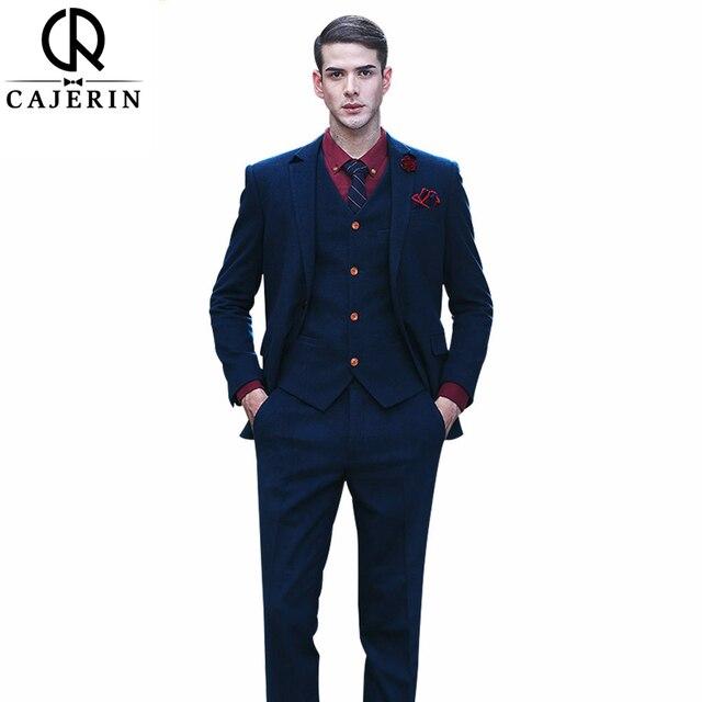e7ad2e8c89e1 Cajerin Uomo Abbigliamento One-Button Uomo Vestito Su Misura Blazer Blu  Viola Dei Vestiti (