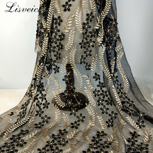 quality 1yard black Gold silk 3D flower Embroidery Lace Fabric transparent net yarn French lace DIY Clothing skirt gauze fabric